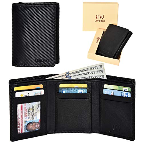 Genuine Leather RFID Blocking Slim Trifold Wallet for Men with 7 Cards+1 ID Window+2 Note Compartments (Black Carbon)
