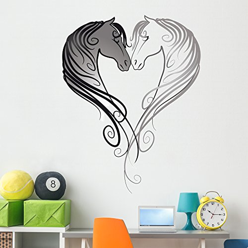 (Horse Head Heart Wall Decal by Wallmonkeys | Peel and Stick Graphic | 60