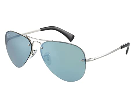 ccf0688e731 Image Unavailable. Image not available for. Color  Ray Ban RB3449 003 30 59  Silver Silver Mirror Aviator Sunglasses ...