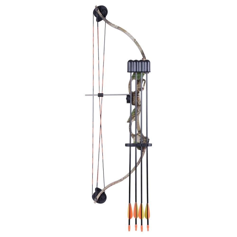 Solid 34'' Youth Compound Bow w/ 4 pcs Arrows Set | Junior Archery Hunting Target