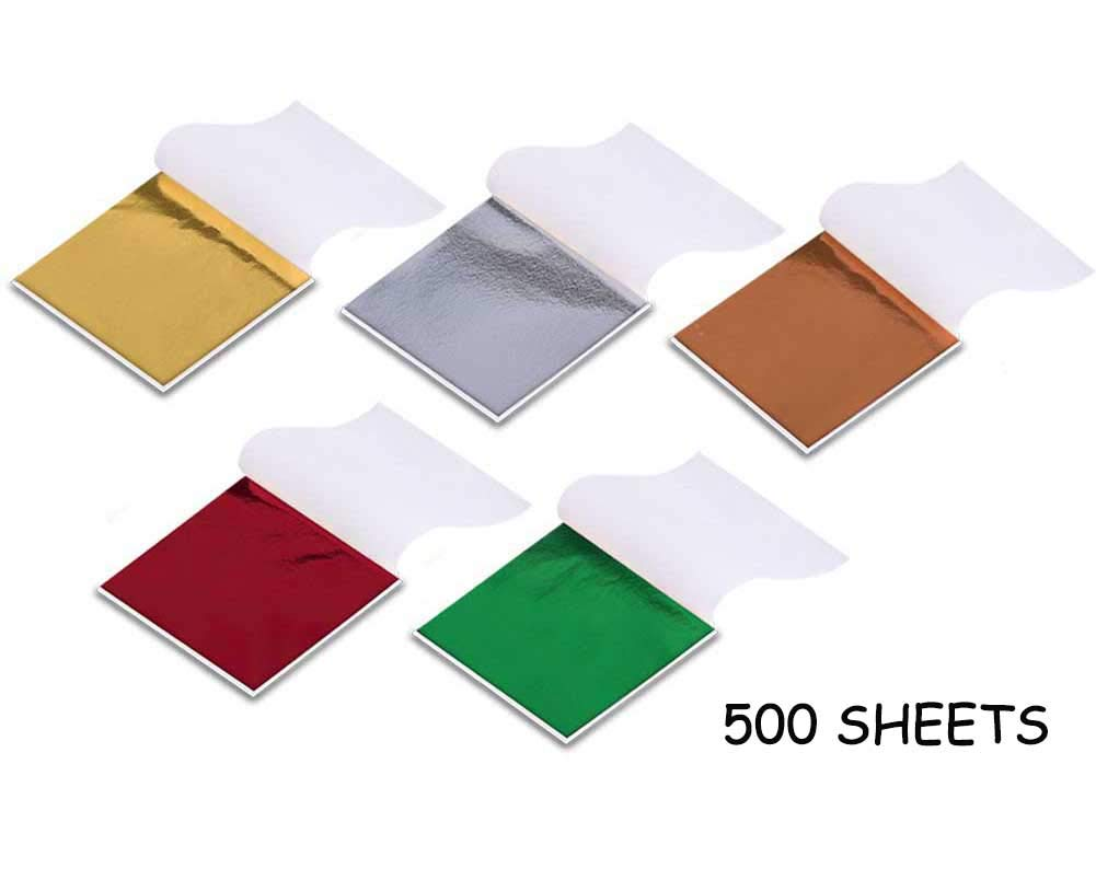 500 Sheets Imitation Gold Leaf for Arts, Gilding Crafting, Decoration, Furniture, 3.5 by 3.5 Inches(5 Colors) SHJ