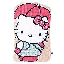 "Hello Kitty Under Umbrella Shaped Cushion Cross Stitch Kit-14.8""X23.2"""