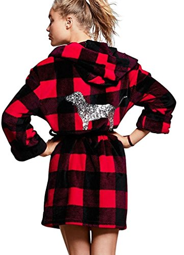 Victoria's Secret PINK Bling Plush Robe Red Pepper Gingham X-Small/Small