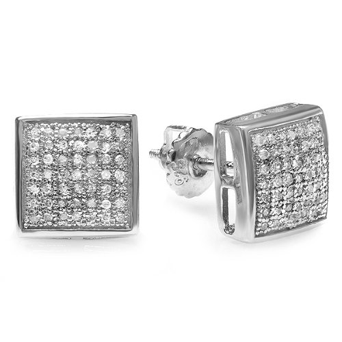 0.75 Carat (ctw) Sterling Silver Round Diamond Mens Hip Hop Iced Stud Earrings 3/4 CT by DazzlingRock Collection