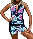 PJTOP Women's Flower Print Front Zipper Sports Tankini Bikini Sets Black L