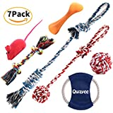 Qwayee Variety Dog Toys - Chew Toys - Dog Rope Toys - Dog Bones - Squeak Toys - Tug of War Rope Ball - Dog Frisbee - Dog Toys for Small and Medium Dogs (7 Pack Gift Set)