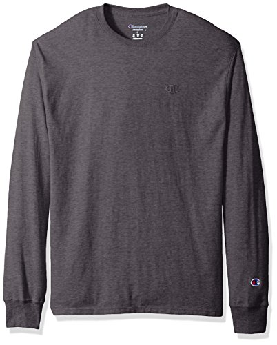 Champion Men's Classic Jersey Long Sleeve T-Shirt, Granite Heather L -