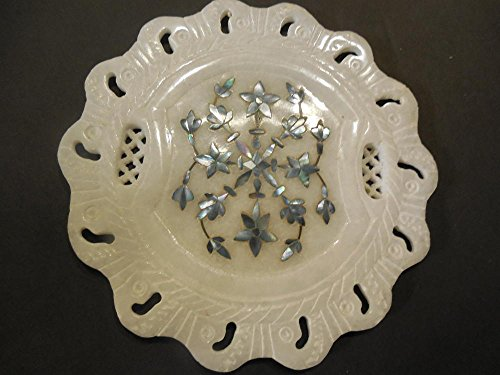 Carved White Stone Trivet with Blue Inlaid Flowers