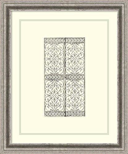 B&w Wrought Iron Gate (Framed Art Print 'B&W Wrought Iron Gate VIII')