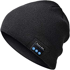 PEATOP Bluetooth Beanie Gifts for Dad and Mom-Bluetooth Hat for Men and Women-Winter Knit Cap with Wireless Headphones Speakers Black
