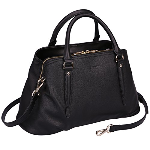 Banuce Black Real Leather Hangbag for Women Triple Entry Design Handle Shoulder Tote Purse Satchel Messenger Bag