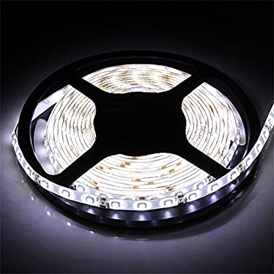 Water-Resistance IP65, 12V Waterproof Flexible LED Strip Light, 16.4ft/5m Cuttable LED Light Strips, 300 Units 3528 LEDs Lighting String, LED Tape? Power Adapter not Included