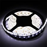 led water lights - Water-resistance IP65, 12V Waterproof Flexible LED Strip Light, 16.4ft/5m Cuttable LED Light Strips, 300 Units 3528 LEDs Lighting String, LED Tape(White)