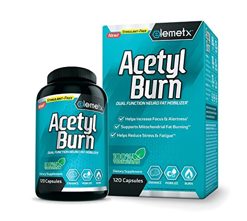 Elemetx® AcetylBurn - Dual Function Stimulant Free Fat Burner - Helps Mitochondrial Fat Burning - Enhance Cognitive Performance - Help Reduce Stress