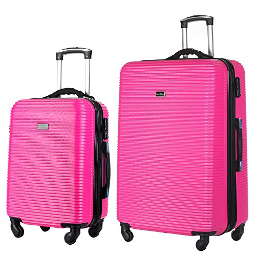 2 PC Luggage Set Durable Lightweight Hard Case Spinner Suitecase 20in29in LUG2 LY06SCALE HOT PINK (Suitcase Hot Pink)