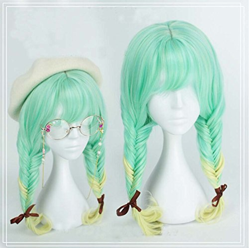 [Jooyi® 60cm Japan Harajuku Anime Fashion Lolita Two Tone Water Green Ombre Straight Wig Lace Front Korean Style Make The Face Look Smaller Hair] (Lavender Marie Antoinette Wig)
