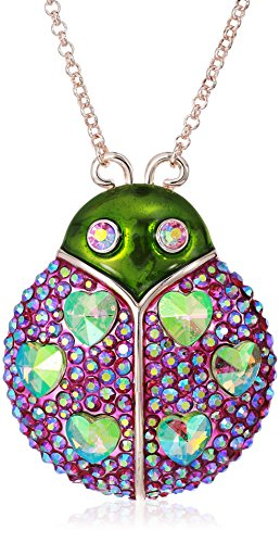 Betsey Johnson Bright and Green Iridescent Stone Lady Bug Pendant Necklaces, Pink, One Size