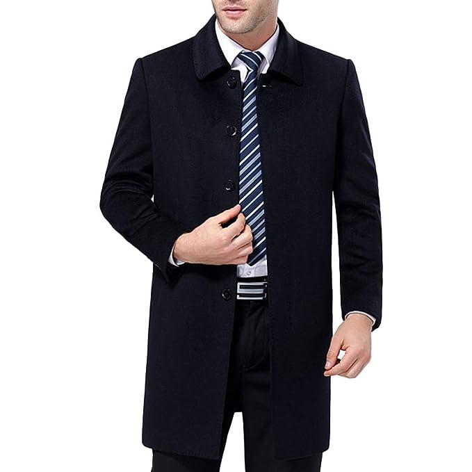 QQWE Abrigo De Lana Negro para Hombres Greatcoat Abrigos De Lana Clásicos De Un Solo Pecho Abrigos De Lana Abrigos: Amazon.es: Ropa y accesorios