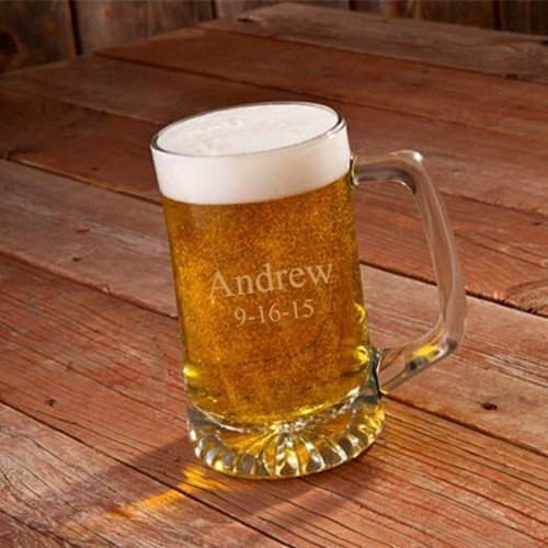 Engraved 25 Oz Sports Mug (Personalized 25 oz. Beer Mug - Monogrammed Beer Mug - Engraved Groomsmen Beer Mug)