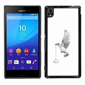 All Phone Most Case / Oferta Especial Duro Teléfono Inteligente PC Cáscara Funda Cubierta de proteccion Caso / Hard Case Sony Xperia M4 Aqua // Abstract Delivery Bird - B&W Minimalist