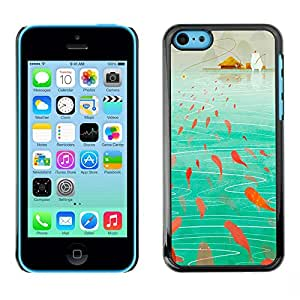 Jordan Colourful Shop - Fish Painting Teal Ocean Art For iPhone 5Cs Custom black plastic Case Cover