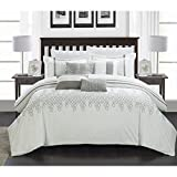Chic Home 8-Piece Lauren Contemporary Comforter Set, King, White