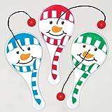 Mini Racchette con Elastico e Pallina Motivo Pupazzi di Neve per Bambini da Mettere nella Calza di Natale (Confezione da 6)