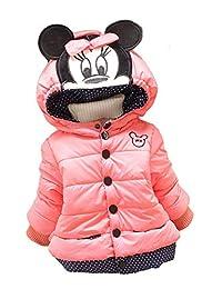 Janeyer Kids Girl Winter Hooded Cartoon Outwear Quilted Fleece Jacket Coat