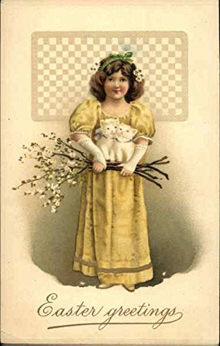 Easter Greetings with Girl in Yellow holding two Kittens With Other Animals Original Vintage Postcard from CardCow Vintage Postcards