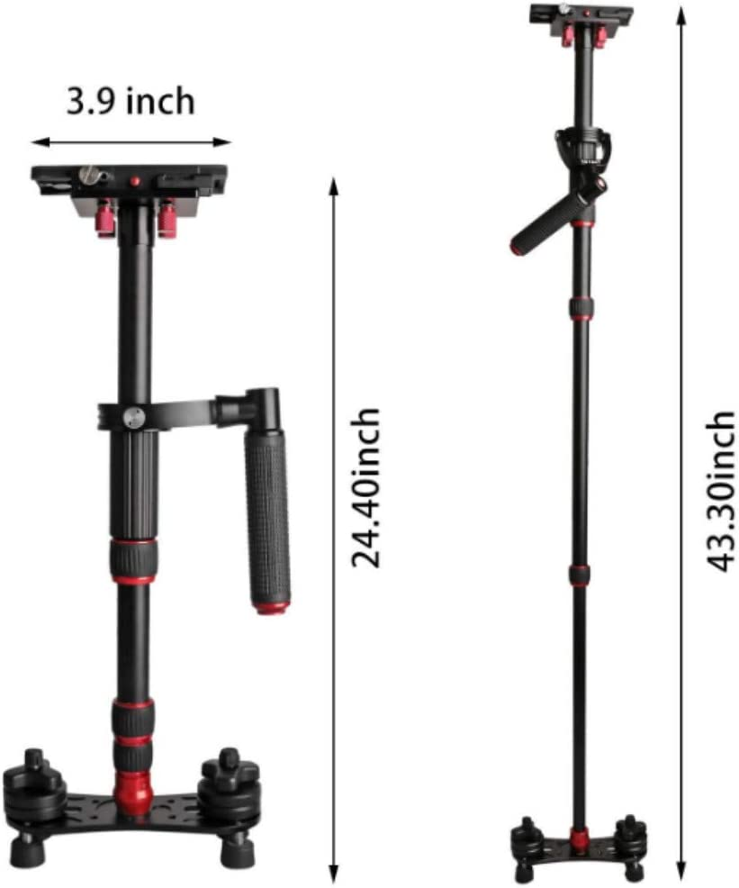 Handheld Stabilizer Aluminum Steadicam with 1//4 3//8 inch Screw Quick Shoe Plate for DSLR Camera Video DV Canon Nikon Sony Max Load 5kg//11lbs