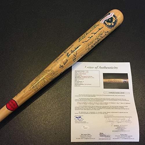 Ernie Banks Autographed Baseball Bat - Beautiful Hall Of Fame 41 Signatures COA - JSA Certified - Autographed MLB - Ernie Bats Signature Banks