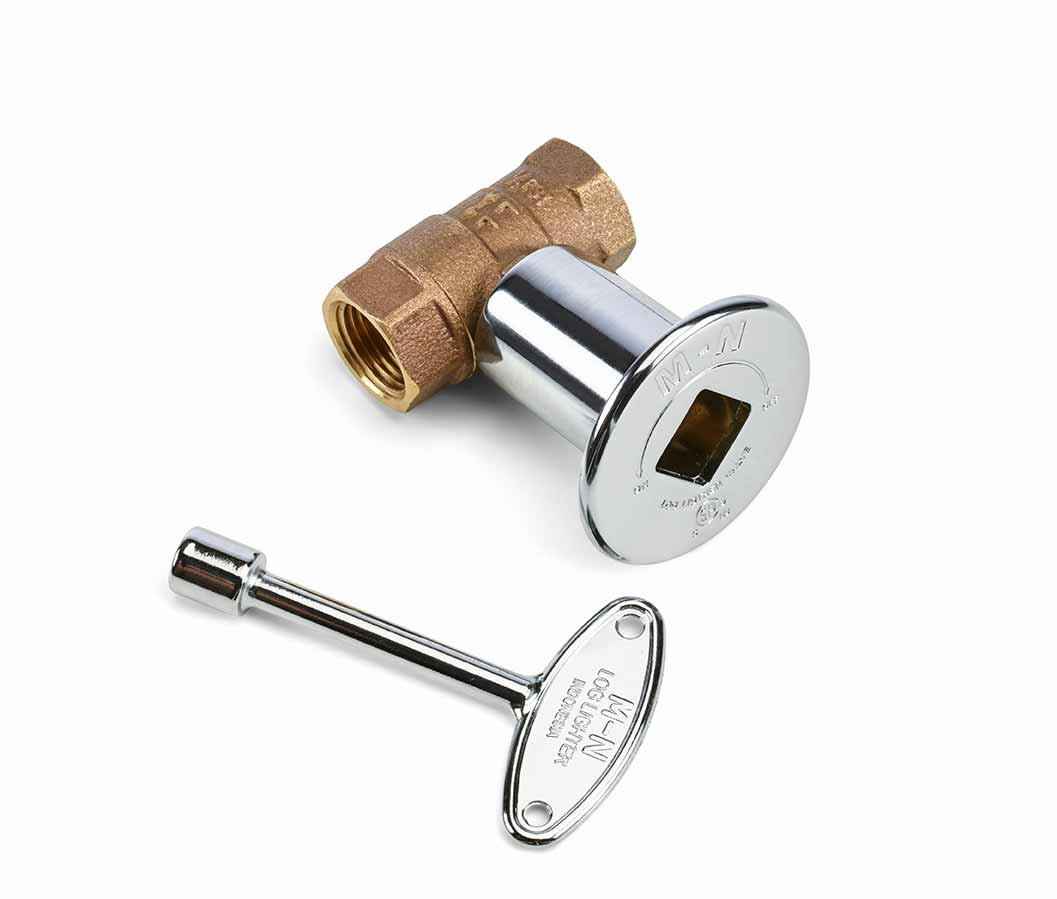 Hearth Products Controls HPC 1/2-Inch Straight Gas Fire Pit Shut Off Valve Kit (MSCB), Polished Chrome Flange and Key