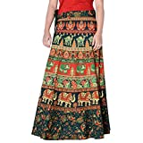 Vintage Style Cotton Printed Rajasthani Badmeri Wrap Around Green Color Free Size Skirt 36 Length Skirt D1
