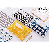 4 Pack Cotton Tissue Boxes, Magnolora Paper Towel Bag Holder Containers, Portable Napkin Paper Bags Holder Dispensers
