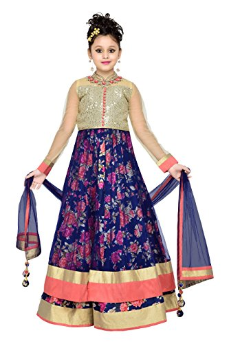 Aarika Girl's Self Design Navy Blue Kurta, Palazzo and Dupatta Set (1064-BLUE_30_8-9 Years) by Aarika