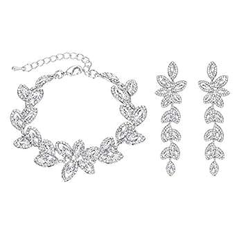 Clearine Women's Bracelet Dangle Earrings Set Wedding Bridal Crystal Multi Marquise-Shape Leaf Tennis Clear Silver-Tone