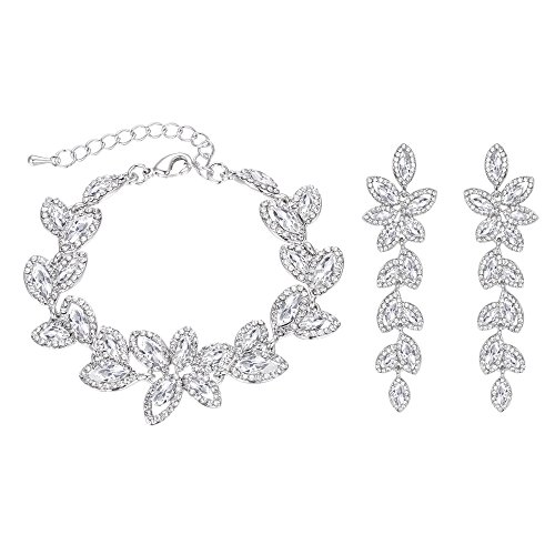 BriLove Wedding Bridal Bracelet Earrings Set for Women Crystal Multi Marquise-Shape Leaf Tennis Bracelet Dangle Earrings Set Clear Silver-Tone