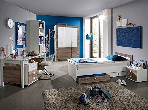 9tlg Jugendzimmer in Montana Eiche - weiß Kleiderschrank Jugendbett Schreibtisch