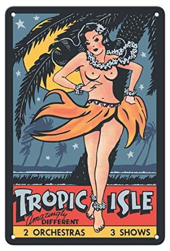 (Pacifica Island Art 8in x 12in Vintage Tin Sign - Tropic Isle - Hawaiian Hula Dancer - Pin Up Girl)