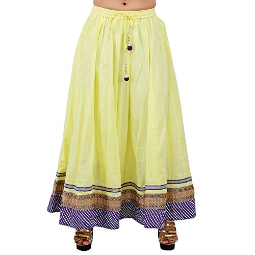 Solid Beautiful Skirt Handicrfats Indian Export White Cotton w1ZnXEq