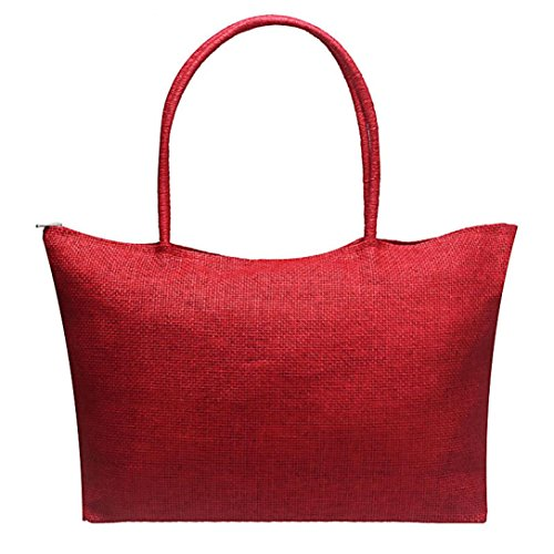Egmy® Hot! 2016 Quality Product Women Simple Candy Color Large Straw Beach Bags Casual Straw Shoulder Bag (Red Beach Bag)