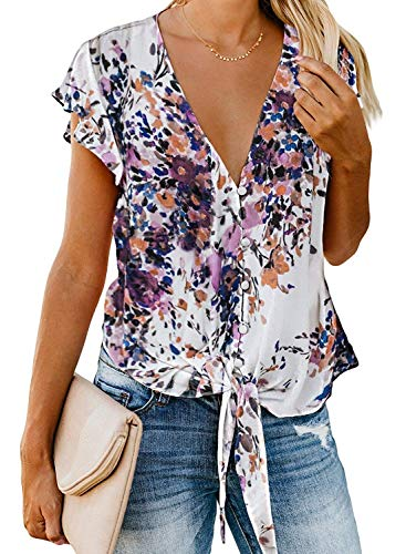 - Women's Summer Deep V Neck Flutter Sleeve Button Down Front Tie Casual Tops Shirts and Blouses (XL, Floral 2)