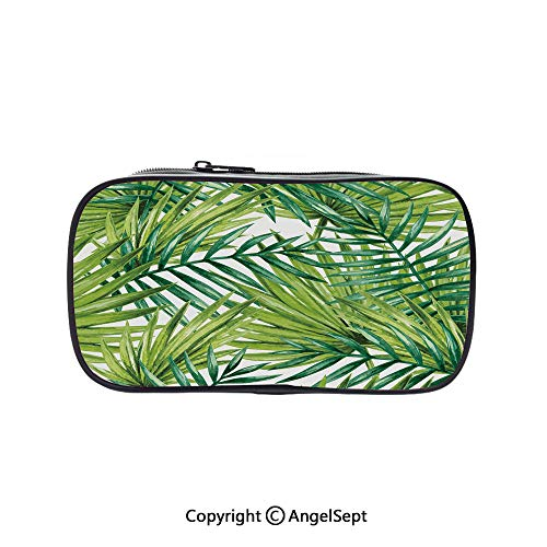Two Big Pockets for Executive Fountain Pen,Watercolor Tropical Palm Leaves Colorful Illustration Natural Feelings Decorative Fern Green Lime Green 5.1inches,Multi-Functional 72 Slots Colored Pencil C ()
