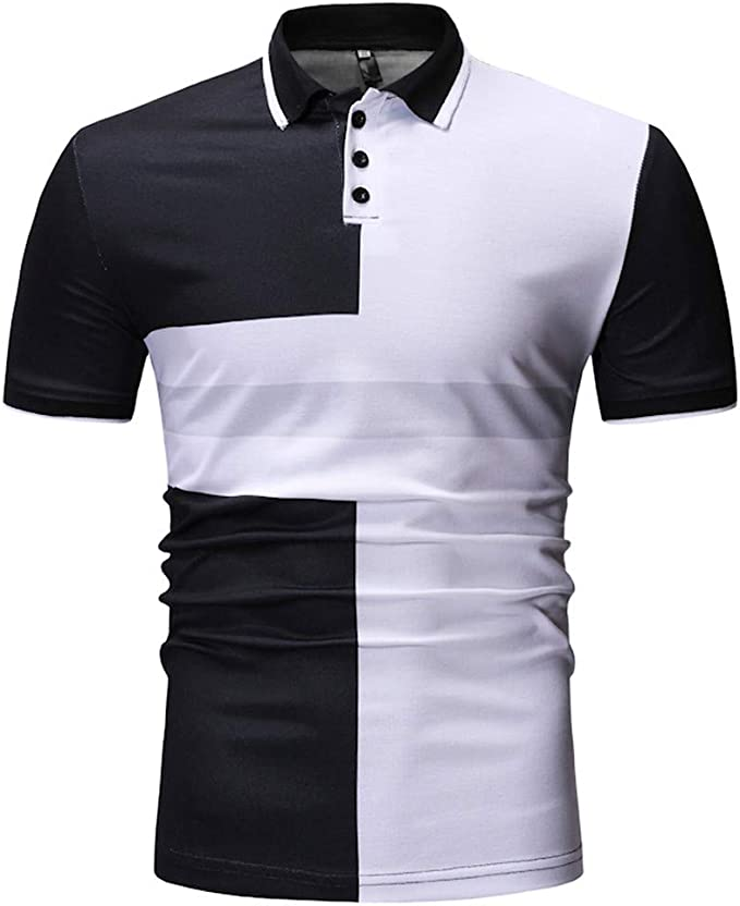 Usopu Mens Casual//Daily Going Out Color Striped Slim Fit Short Sleeve Polo Shirt
