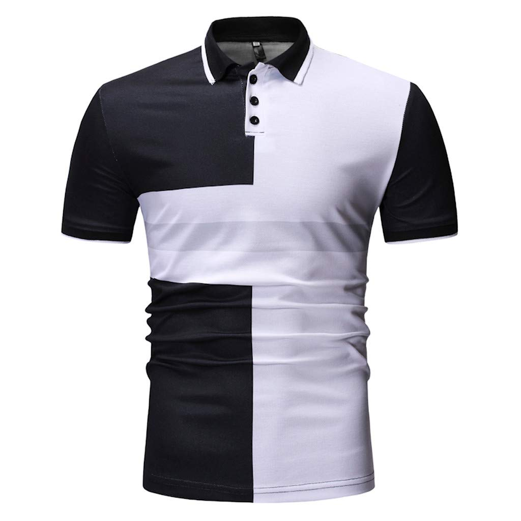 Fashion Mens Spring Summer Stand Collar Casual Short Sleeve T-Shirt Button Slim Top