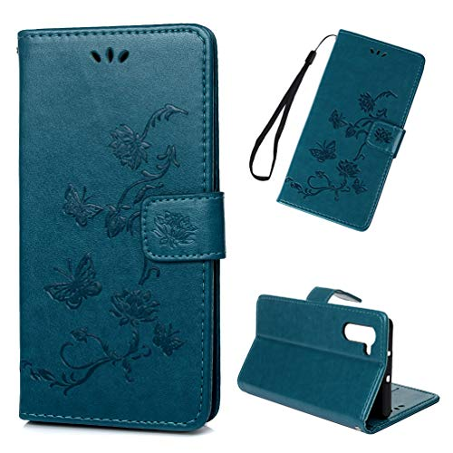 Galaxy Note 10 Case, Floral Lotus Wallet Case PU Leather Magnetic Flip Cover Shock Resistant Flexible Soft TPU Slim Protective Bumper Card Slots Kickstand Lanyard for Samsung Galaxy Note 10 Blue