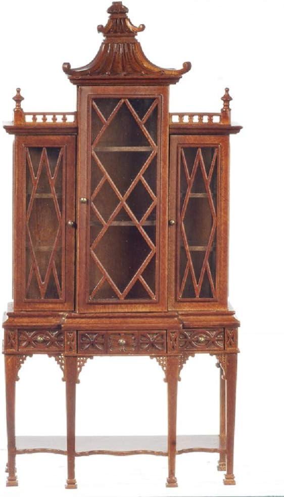 Melody Jane Dollhouse George III Chippendale China Cabinet Breakfront Walnut JBM Furniture