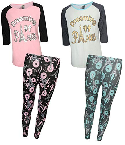 Sweet & Sassy Girls' 4-Piece Spring Pajama Legging Set (2 Full Sets) (10/12, Dreaming of Paris)' ()