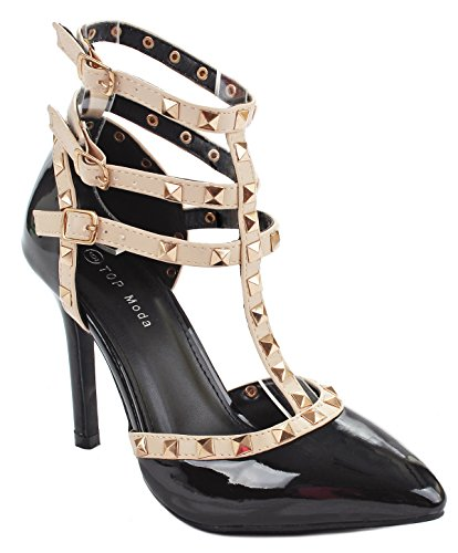 Designer Black Patent T-Strap Rivet Studded Ankle Cuff High Heel Dress Pump (4in Sexy High Heel Shoe)