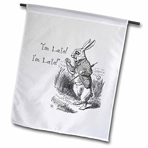 3dRose Alice in Wonderland White Rabbit.Im Late- John Tenniel Illustration - Garden Flag, 12 by 18